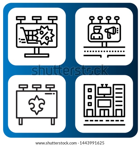 Set of advert icons such as Billboard, Billboards , advert
