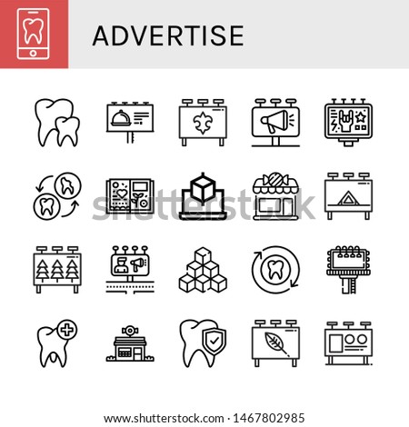 Set of advertise icons such as Tooth, Teeth, Billboard, Scrapbook, Cube, Candy shop, Billboards, Cubes , advertise
