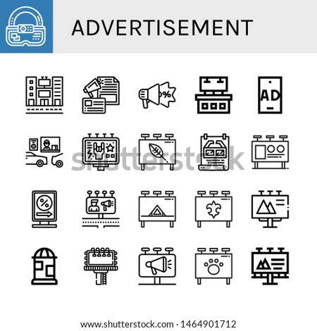 Set of advertisement icons such as Ar, Billboard, Advertising, Ads, Ad, Drive thru, Poster, Billboards , advertisement