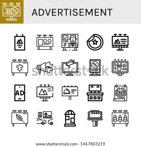 Set of advertisement icons such as Billboard, Poster, Sticker, Advertising, Ads, Billboards, Ad, Drive thru , advertisement