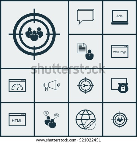 Set Of 12 Advertising Icons. Includes Elements Such As Research, Focus, Web And More