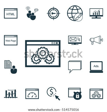 Set Of Advertising Icons On Connectivity, Loading Speed And Keyword Optimisation Topics. Editable Vector Illustration. Includes Page, Viral, Dynamics And More Vector Icons. #514575016