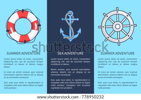 Set of advertising posters devoted to sea and summer adventures. Vector illustration of icons depicting lifebuoy, anchor and sailors wheel Stok fotoğraf ©