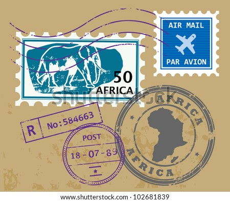 Set of Africa post stamp symbols, vector illustration