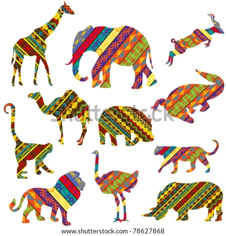 Set of African animals made of ethnic textures - stock vector