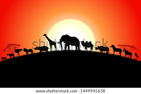 Set of african animals silhouette on sunset background. Vector illustration collection of animals africa side view.