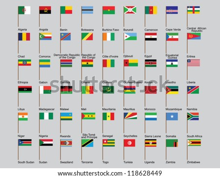 set of African countries flags vector illustration