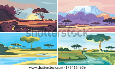 Set of african landscapes. Beautiful nature sceneries.