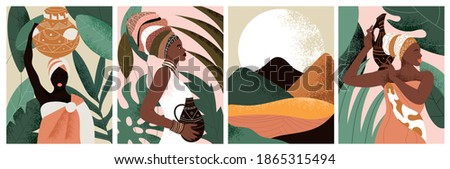 Set of African woman wearing traditional clothes