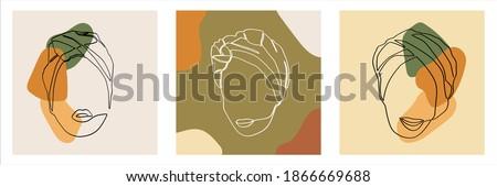 Set of African Woman Wearing Turban Headscarf Single Line Art Vector.  Elegant Fashionable Muslim Girl Line Art Illustration perfect for Social Media Template and Wall Art.  Stock fotó ©