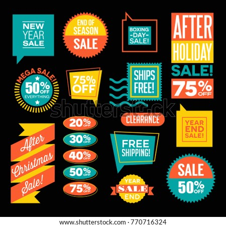 Set of after Christmas and end of season sale design spots and emblems. Vector illustration.