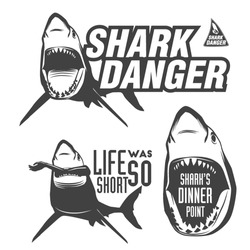 Set of aggressive shark sings for beach, surfing, diving, kitesurfing, windsurfing and other water sports