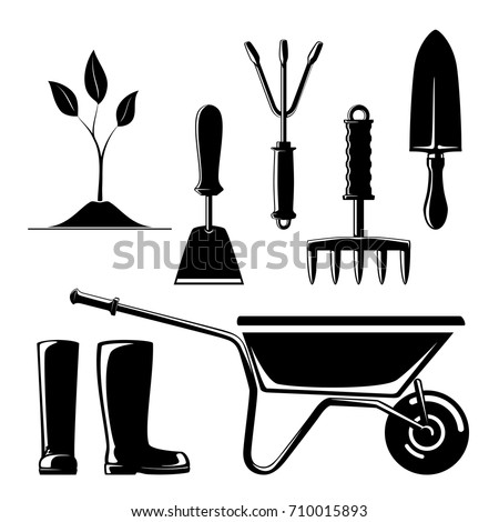 Set of Agricultural Tools, Silhouette of Garden and Landscaping Tools , Hand Rake and Hoe with Sprout and Working Rubber Boots , Rip Saw with Trowel and Wheelbarrow , Vector