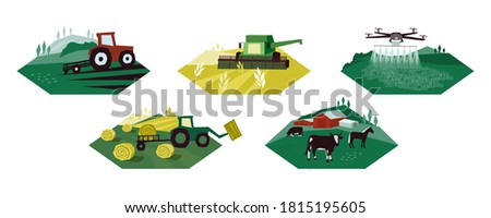 Set of agriculture activity illustrations. Icons of irrigation tractor, farm animals, combine harvester, drone. Vector for farming livestock, dairy industry. Cultivated and plowed land, cow, hay field
