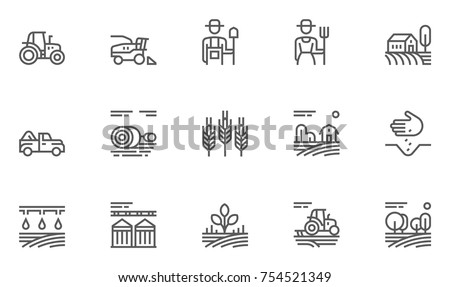 Set of Agriculture and Farming Line Icons. Contains such Icons Harvester trucks, tractors, farmers and village farm buildings. Editable Stroke. 48x48 Pixel Perfect.