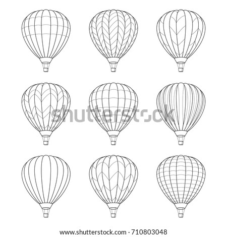 set of air balloon icons