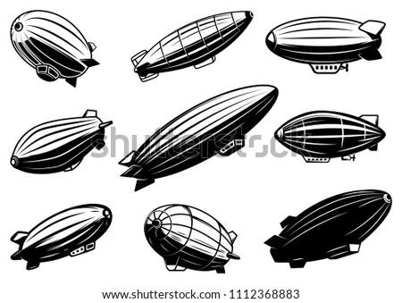 set of air balloons  zeppelin
