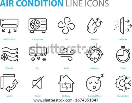 set of air condition cons, air purify, temperator, air compressor, cool air