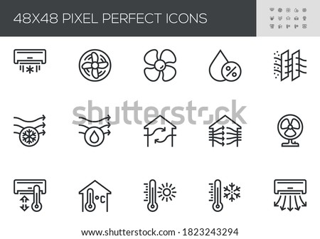 Set of Air Conditioning Vector Line Icons. Air Cooling, Fan, Humidity, Air Circulation, Ventilation. Editable Stroke. 48x48 Pixel Perfect. Stockfoto ©