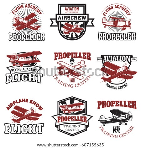 Set of air force, airplane show, flying academy emblems. Vintage planes. Design elements for logo, badge, label. Vector illustration.