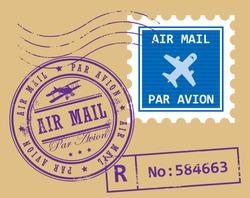 Set of air mail symbols, vector illustration