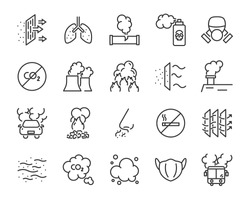 set of air pollution icons, such as smog, dust, smoke, emission