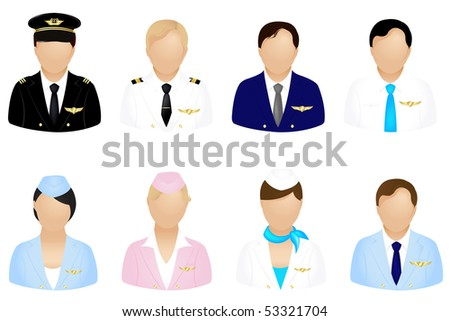 Set Of Aircraft Crew Icons Set, Isolated On White