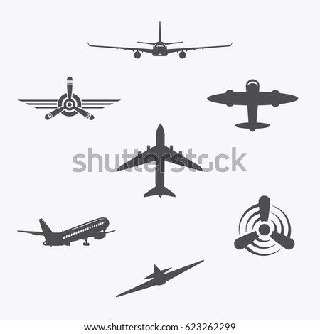 set of aircraft icons on white