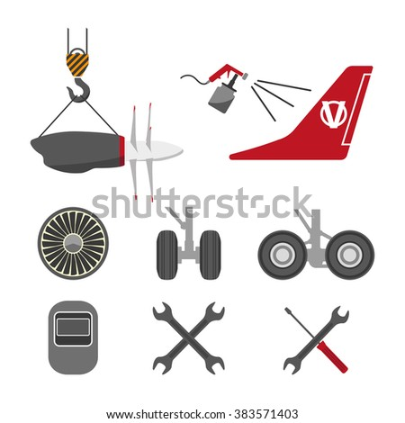 set of aircraft parts on white