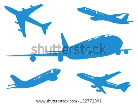 Set of Airplane, Aircraft silhouettes Vector illustration, EPS 10.