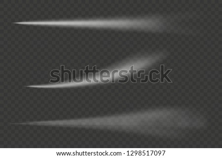 Set of Airplane condensation trails isolated on trasparent background. Jet trailing smokes