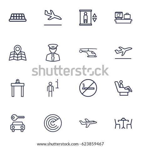 set of 16 airplane outline
