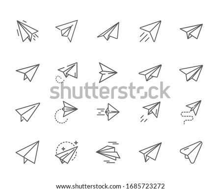 Set of airplane paper Related Vector Line Icons.