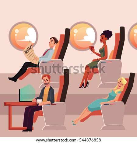 Set of airplane passengers in business class - reading, drinking, working and sleeping, cartoon vector illustration on white background. Male and female passengers in airplane seats, business class