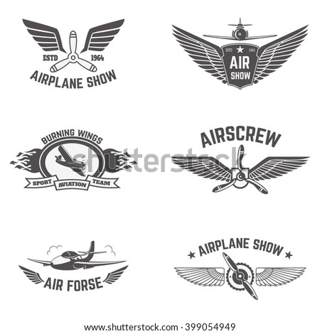 set of airplane show labels