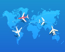 Set of airplanes flying over world map. Destinations of plane flight. Aviation routes concept. Isolated vector illustration. Air transport, travel. Graphic aircraft in flat style. Flights over planet