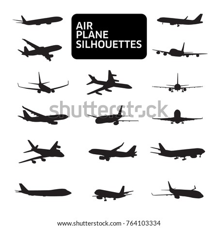 set of airplanes silhouettes