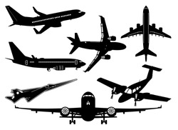 Set Of Airplanes Vector Illustration Silhouettes