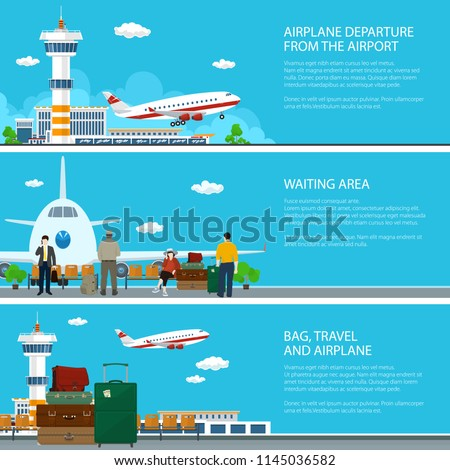 Set of Airport Banners, Airplane Arrives and Fly away from Airport Terminal , Waiting Room with Travelers and Luggage Bags, Air Travel Concept, Vector Illustration