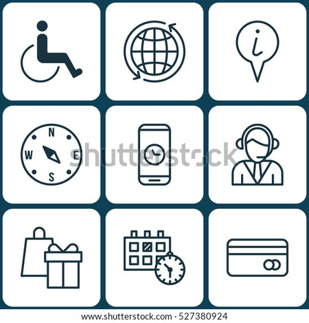 set of 9 airport icons can be