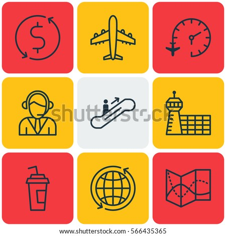 Set Of 9 Airport Icons. Includes Money Transfer, World, Moving Staircase And Other Airport Icon Symbols. Beautiful Clock Vector Design Elements.