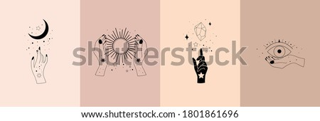 Set of alchemy esoteric mystical magic celestial talisman with woman hands, sun, moon, stars sacred geometry isolated. Spiritual occultism object. Vector illustrations in black outline style
