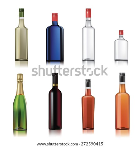 set of alcohol bottles isolated