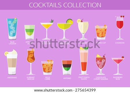 set of alcohol cocktails icons