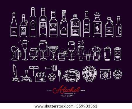 Set of alcohol icons in flat style drawing with white lines on violet background