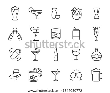 set of alcohol icons  such as