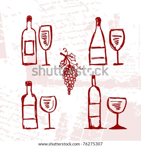 Set of alcohol's bottles and wineglasses on grunge background