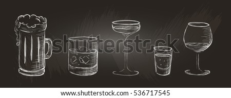 set of alcoholic beverages in a