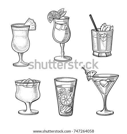 set of alcoholic cocktails hand