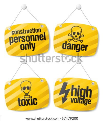 Set of alert danger vector signs